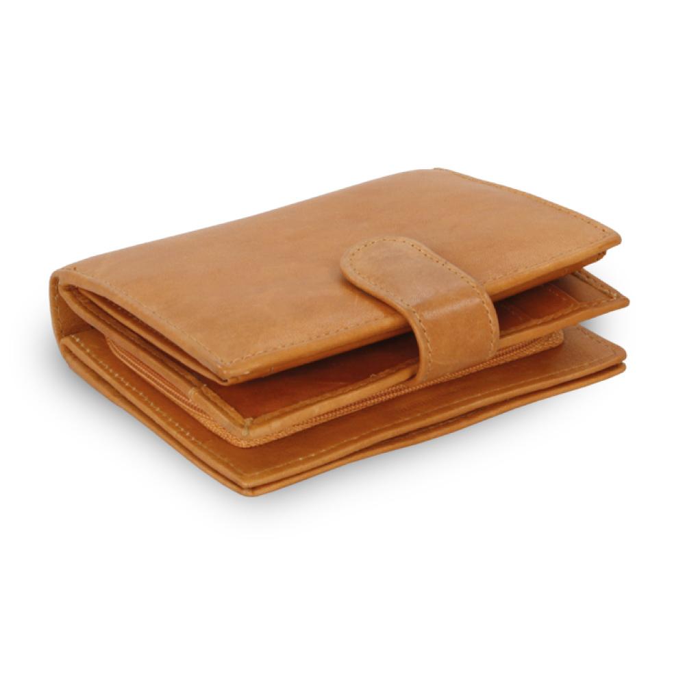 Hnědá dámská kožená peněženka se zápinkou  d94bf149378